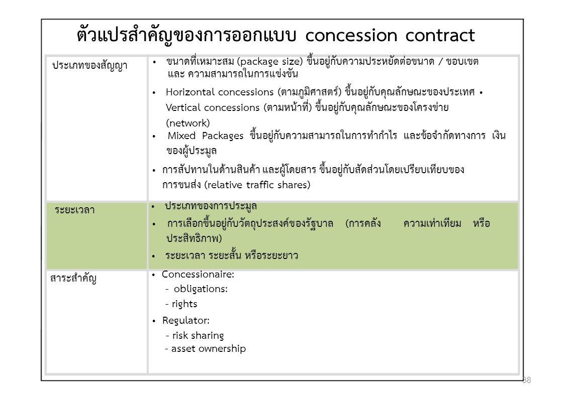 ตัวแปรสําคัญของการออกแบบ concession contract ประเภทของสัญญา ขนาดที่เหมาะสม (package size) ขึ้นอยูกับความประหยัดตอขนาด / ขอบเขต และ ความสามารถในการแขงขัน Horizontal concessions (ตามภูมิศาสตร) ขึ้นอยูกับคุณลักษณะของประเทศ Vertical concessions (ตามหนาที่) ขึ้นอยูกับคุณลักษณะของโครงขาย (network) Mixed Packages ขึ้นอยูกับความสามารถในการทํากําไร และขอจํากัดทางการ เงิน ของผูประมูล การสัปทานในดานสินคา และผูโดยสาร ขึ้นอยูกับสัดสวนโดยเปรียบเทียบของ การขนสง (relative traffic shares) ระยะเวลา ประเภทของการประมูล การเลือกขึ้นอยูกับวัตถุประสงคของรัฐบาล (การคลัง ความเทาเทียม หรือ ประสิทธิภาพ) ระยะเวลา ระยะสั้น หรือระยะยาว สาระสําคัญ Concessionaire: - obligations: - rights Regulator: - risk sharing - asset ownership 38