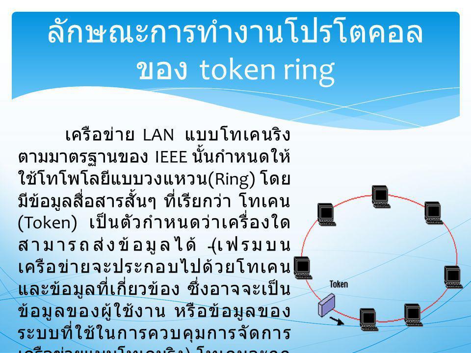 ลักษณะการทำงานโปรโตคอล ของ token ring เครือข่าย LAN แบบโทเคนริง ตามมาตรฐานของ IEEE นั้นกำหนดให้ ใช้โทโพโลยีแบบวงแหวน (Ring) โดย มีข้อมูลสื่อสารสั้นๆ ที่เรียกว่า โทเคน (Token) เป็นตัวกำหนดว่าเครื่องใด สามารถส่งข้อมูลได้ ( เฟรมบน เครือข่ายจะประกอบไปด้วยโทเคน และข้อมูลที่เกี่ยวข้อง ซึ่งอาจจะเป็น ข้อมูลของผู้ใช้งาน หรือข้อมูลของ ระบบที่ใช้ในการควบคุมการจัดการ เครือข่ายแบบโทเคนริง ) โทเคนจะถูก ส่งให้วิ่งไปรอบๆ เครือข่าย ถ้าเครื่อง ใดสามารถครอบครองโทเคนได้จะ สามารถส่งข้อมูลได้