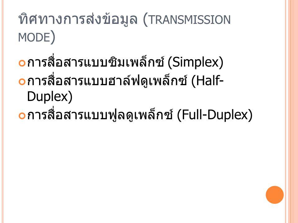 ทิศทางการส่งข้อมูล ( TRANSMISSION MODE ) การสื่อสารแบบซิมเพล็กซ์ (Simplex) การสื่อสารแบบฮาล์ฟดูเพล็กซ์ (Half- Duplex) การสื่อสารแบบฟูลดูเพล็กซ์ (Full-Duplex)