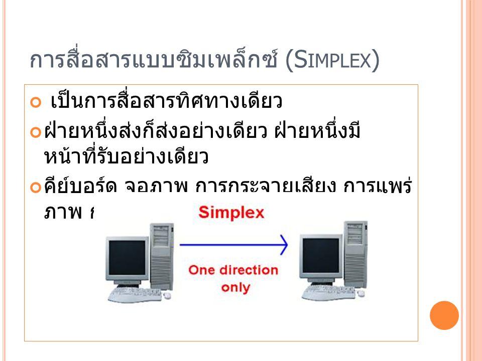 การสื่อสารแบบซิมเพล็กซ์ (S IMPLEX ) เป็นการสื่อสารทิศทางเดียว ฝ่ายหนึ่งส่งก็ส่งอย่างเดียว ฝ่ายหนึ่งมี หน้าที่รับอย่างเดียว คีย์บอร์ด จอภาพ การกระจายเสียง การแพร่ ภาพ การส่งข้อความเพจเจอร์