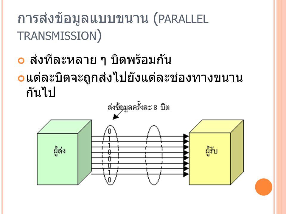 การส่งข้อมูลแบบขนาน ( PARALLEL TRANSMISSION ) ส่งทีละหลาย ๆ บิตพร้อมกัน แต่ละบิตจะถูกส่งไปยังแต่ละช่องทางขนาน กันไป