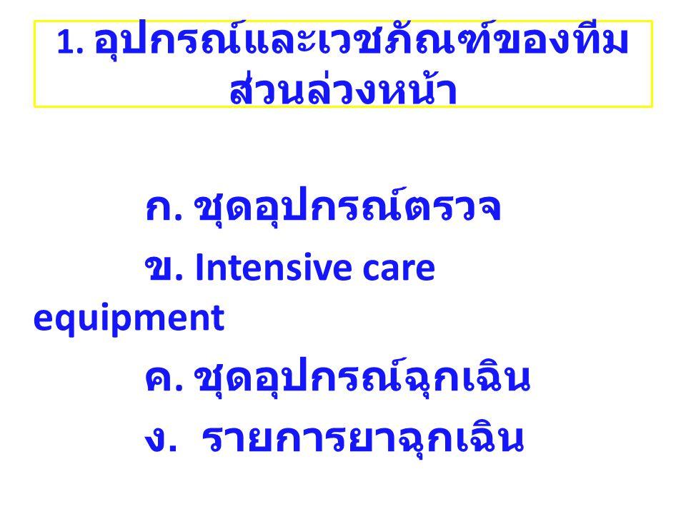 ก. ชุดอุปกรณ์ตรวจ ข. Intensive care equipment ค. ชุดอุปกรณ์ฉุกเฉิน ง. รายการยาฉุกเฉิน 1. อุปกรณ์และเวชภัณฑ์ของทีม ส่วนล่วงหน้า