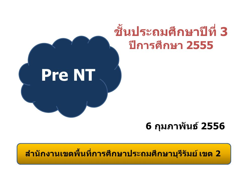 สรุปผลการทดสอบ Pre NT จำนวนโรงเรียนที่สอบ 233 โรง สรุปผลการสอบ 229 โรง ไม่มีข้อมูล 4 โรง บ้านโคกเหล็ก อ.ห้วยราช บ้านกุดใหญ่ อ.กระสัง บ้านประดู่ อ.กระสัง บ้านพาชี อ.ประโคนชัย