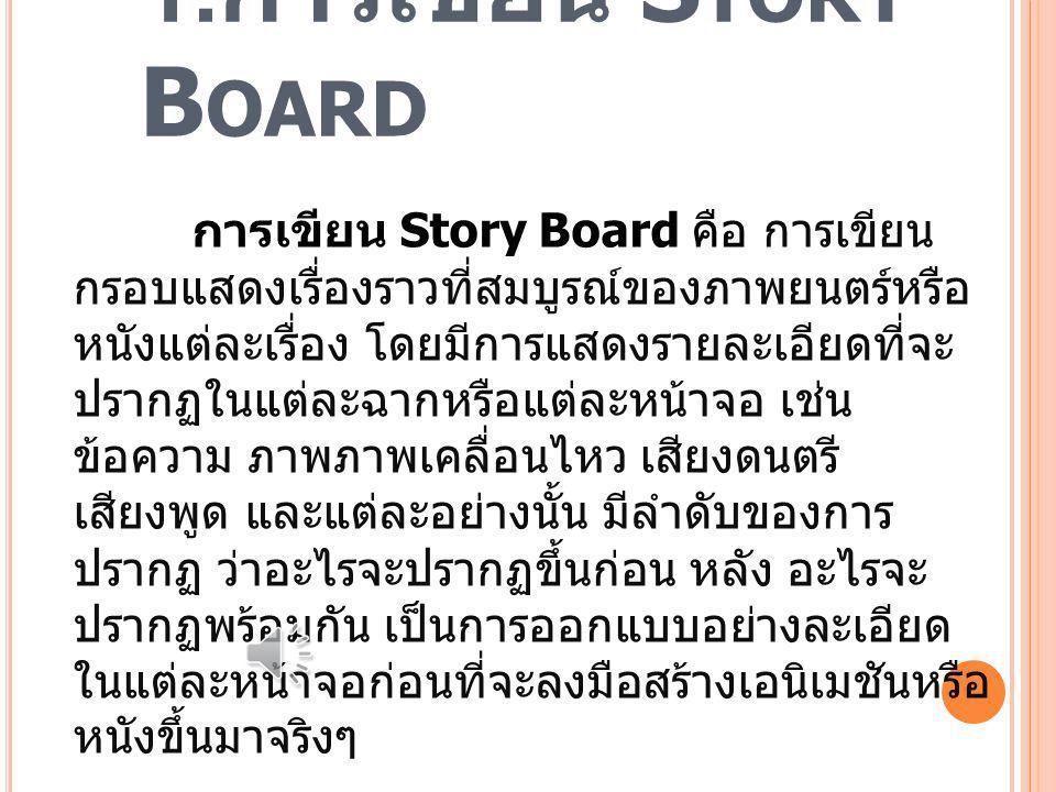 การถ่ายวีดีโอ 1. การเขียน Story Board 2. สิ่งสำคัญที่อยู่ใน Story Board 3. การเดินถ่ายวีดีโอไปด้านหน้า 4. การเชื่อมภาพ 5. การเคลื่อนไหวของนักแสดง