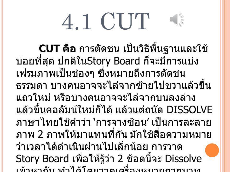 4.1 CUT CUT คือ การตัดชน เป็นวิธีพื้นฐานและใช้ บ่อยที่สุด ปกติใน Story Board ก็จะมีการแบ่ง เฟรมภาพเป็นช่องๆ ซึ่งหมายถึงการตัดชน ธรรมดา บางคนอาจจะไล่จากซ้ายไปขวาแล้วขึ้น แถวใหม่ หรือบางคนอาจจะไล่จากบนลงล่าง แล้วขึ้นคอลัมน์ใหม่ก็ได้ แล้วแต่ถนัด DISSOLVE ภาษาไทยใช้คำว่า ' การจางซ้อน ' เป็นการละลาย ภาพ 2 ภาพให้มาแทนที่กัน มักใช้สื่อความหมาย ว่าเวลาได้ดำเนินผ่านไปเล็กน้อย การวาด Story Board เพื่อให้รู้ว่า 2 ช้อตนี้จะ Dissolve เข้าหากัน ทำได้โดยวาดเครื่องหมายกากบาท ไขว้