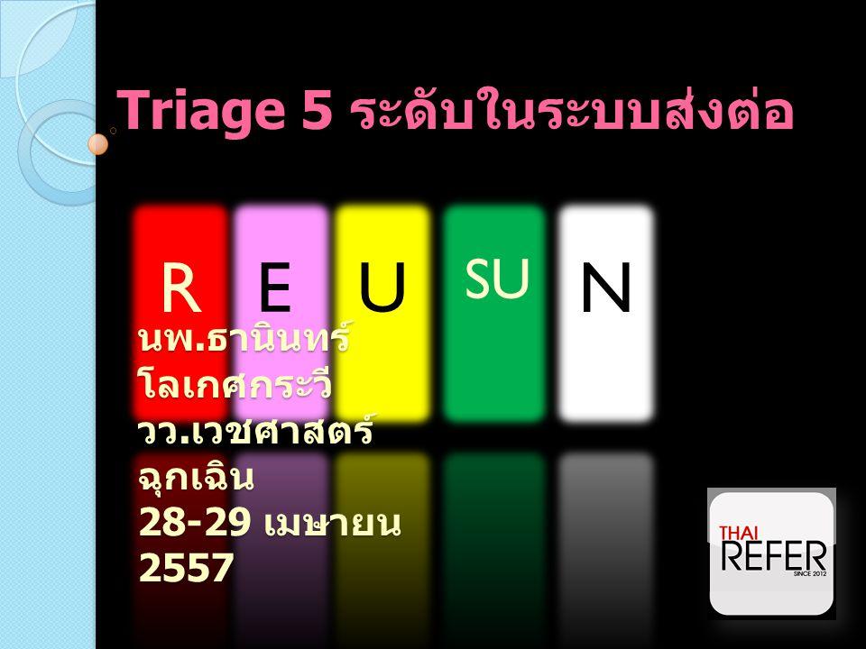 Triage 5 ระดับในระบบส่งต่อ REU SU N นพ. ธานินทร์ โลเกศกระวี วว. เวชศาสตร์ ฉุกเฉิน 28-29 เมษายน 2557