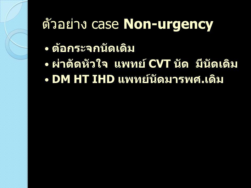 ตัวอย่าง case Non-urgency ต้อกระจกนัดเดิม ผ่าตัดหัวใจ แพทย์ CVT นัด มีนัดเดิม DM HT IHD แพทย์นัดมารพศ. เดิม