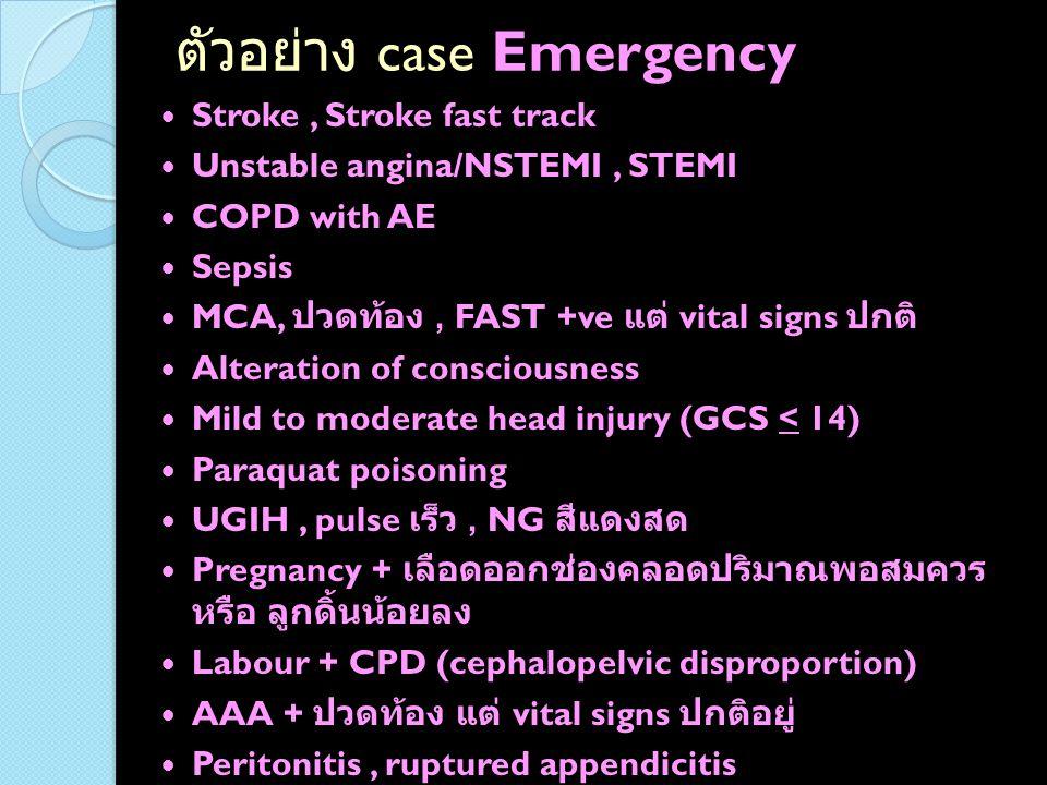 กรณีตัวอย่าง pain score อาจต้องดูความสมเหตุสมผล และอวัยวะที่ ได้รับบาดเจ็บด้วย *** ต้องประเมินจากสีหน้าผู้ป่วยร่วมด้วย *** ปวดท้องลิ้นปี่มาก pain score 8 ( สมเหตุสมผล )  emergency ปวดหัวมาก pain score 8 ( สมเหตุสมผล )  emergency ของหนักตกใส่นิ้วหัวแม่เท้า มี open Fx ปลาย หัวแม่เท้า pain score 8 ( เนื่องจากอวัยวะที่ ได้รับบาดเจ็บไม่รุนแรง อาจหักลบ 1 level)  urgency ฟันผุ ปวดฟันมาก pain score 8 ( เนื่องจากฟันผุ เป็นอวัยวะที่ไม่รุนแรง อาจ หักลบ 1 level)  urgency