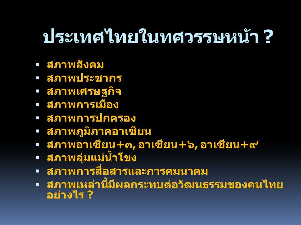 ประเทศไทยในทศวรรษหน้า ?  สภาพสังคม  สภาพประชากร  สภาพเศรษฐกิจ  สภาพการเมือง  สภาพการปกครอง  สภาพภูมิภาคอาเซียน  สภาพอาเซียน+๓, อาเซียน+๖, อาเซี
