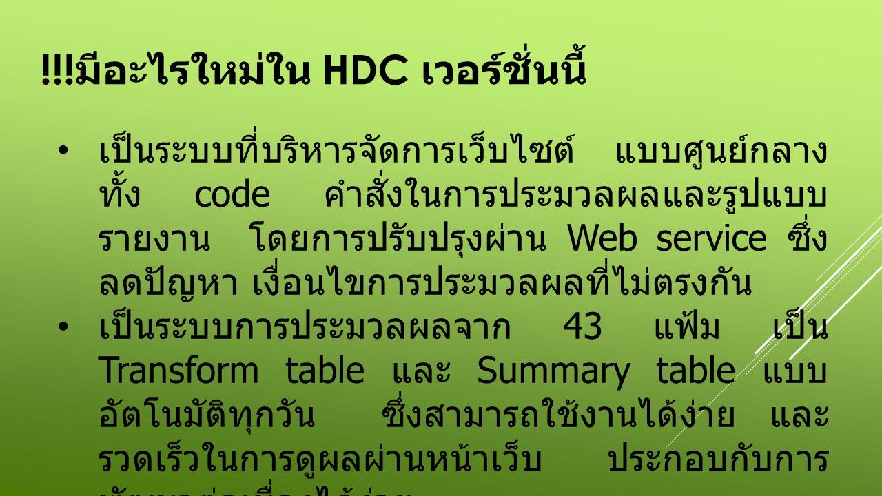 !!! มีอะไรใหม่ใน HDC เวอร์ชั่นนี้ เป็นระบบที่บริหารจัดการเว็บไซต์ แบบศูนย์กลาง ทั้ง code คำสั่งในการประมวลผลและรูปแบบ รายงาน โดยการปรับปรุงผ่าน Web se