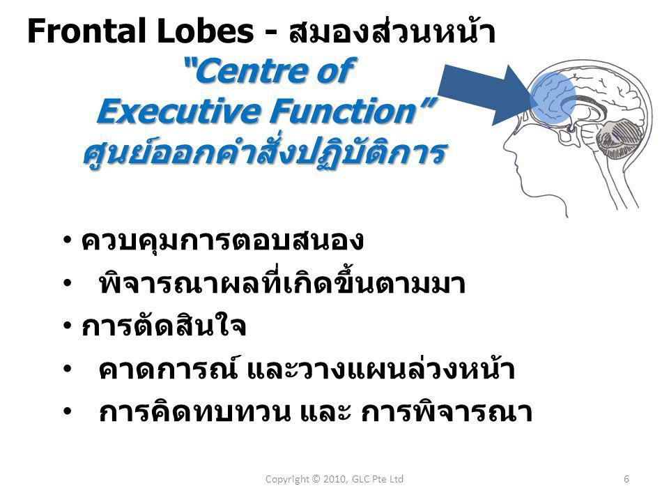 Frontal Lobes - สมองส่วนหน้า Centre of Executive Function ศูนย์ออกคำสั่งปฏิบัติการ 6Copyright © 2010, GLC Pte Ltd ควบคุมการตอบสนอง พิจารณาผลที่เกิดขึ้นตามมา การตัดสินใจ คาดการณ์ และวางแผนล่วงหน้า การคิดทบทวน และ การพิจารณา