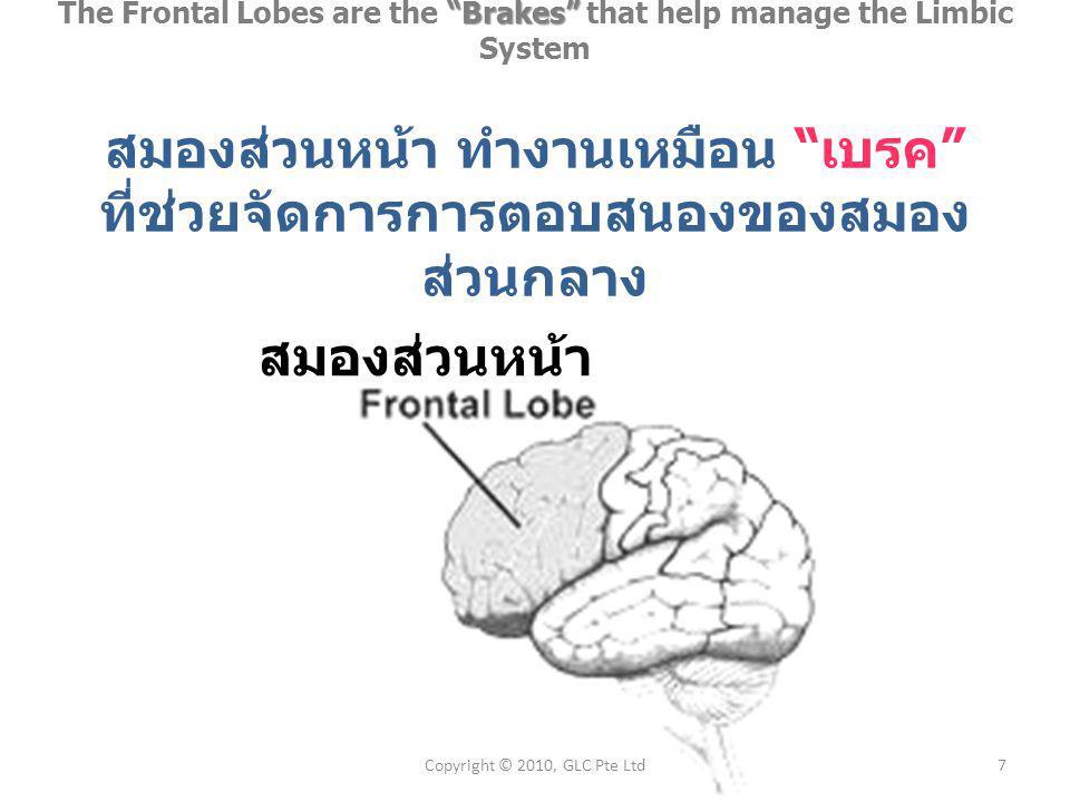 Brakes The Frontal Lobes are the Brakes that help manage the Limbic System สมองส่วนหน้า ทำงานเหมือน เบรค ที่ช่วยจัดการการตอบสนองของสมอง ส่วนกลาง 7Copyright © 2010, GLC Pte Ltd สมองส่วนหน้า