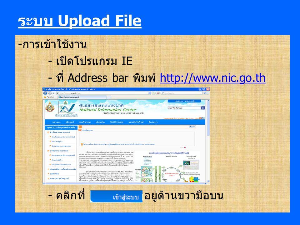 ระบบ Upload File -การเข้าใช้งาน - เปิดโปรแกรม IE - ที่ Address bar พิมพ์ http://www.nic.go.thhttp://www.nic.go.th - คลิกที่ อยู่ด้านขวามือบน
