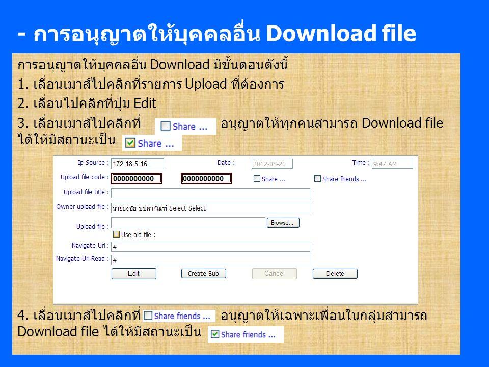 - การอนุญาตให้บุคคลอื่น Download file การอนุญาตให้บุคคลอื่น Download มีขั้นตอนดังนี้ 1.