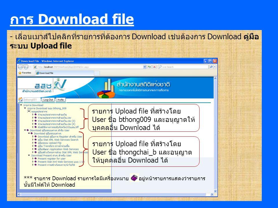การ Download file - เลื่อนเมาส์ไปคลิกที่รายการที่ต้องการ Download เช่นต้องการ Download คู่มือ ระบบ Upload file รายการ Upload file ที่สร้างโดย User ชื่อ thongchai_b และอนุญาต ให้บุคคลอื่น Download ได้ รายการ Upload file ที่สร้างโดย User ชื่อ bthong009 และอนุญาตให้ บุคคลอื่น Download ได้ *** รายการ Download รายการใดมีเครื่องหมาย อยู่หน้ารายการแสดงว่ารายการ นั้นมีไฟล์ให้ Download