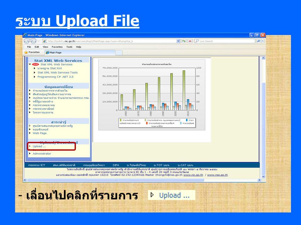 ระบบ Upload File - รายละเอียดการ Upload file ขึ้น Server เพื่อให้บุคคล อื่น Download - หลักการออกแบบรายการ Upload file จะใช้หลักการ การจัดระบบตาม ลำดับขั้น (hierarchy) - รายการ Upload file ที่สร้างโดย User:thongchai_b *** รายการ Download รายการใดมีเครื่องหมาย อยู่หน้ารายการแสดงว่ารายการนั้นมี ไฟล์ให้ Download