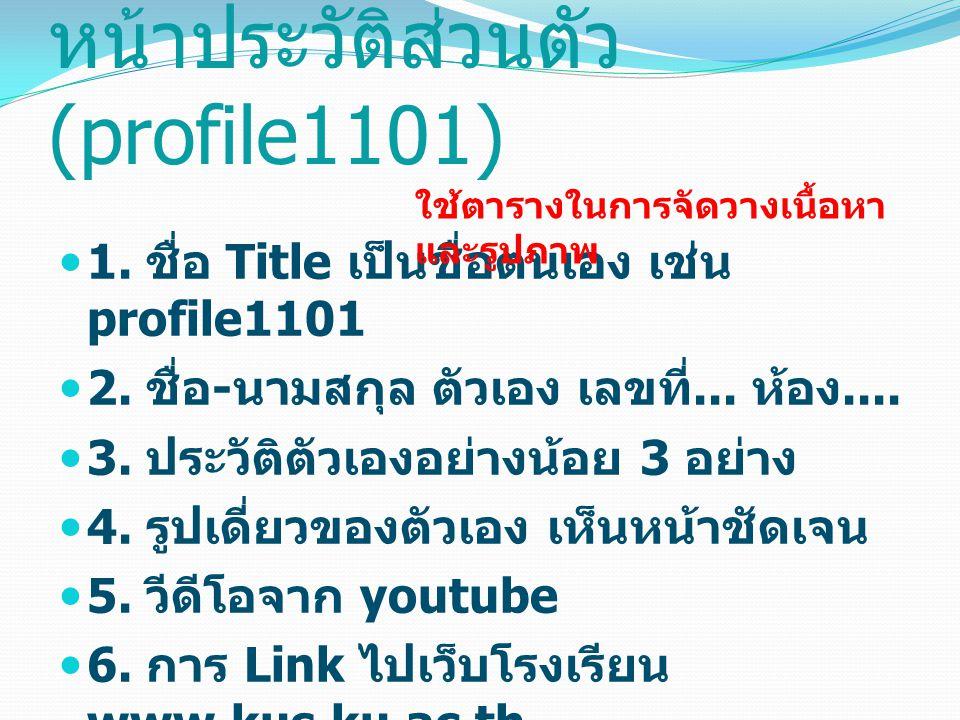 หน้าประวัติส่วนตัว (profile1101) 1. ชื่อ Title เป็นชื่อตนเอง เช่น profile1101 2.