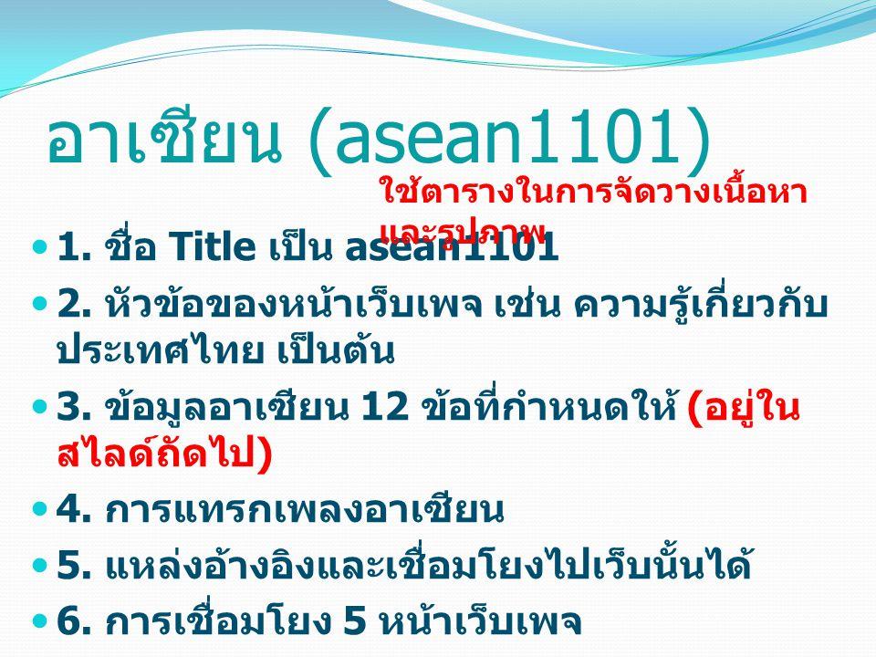 อาเซียน (asean1101) 1. ชื่อ Title เป็น asean1101 2.