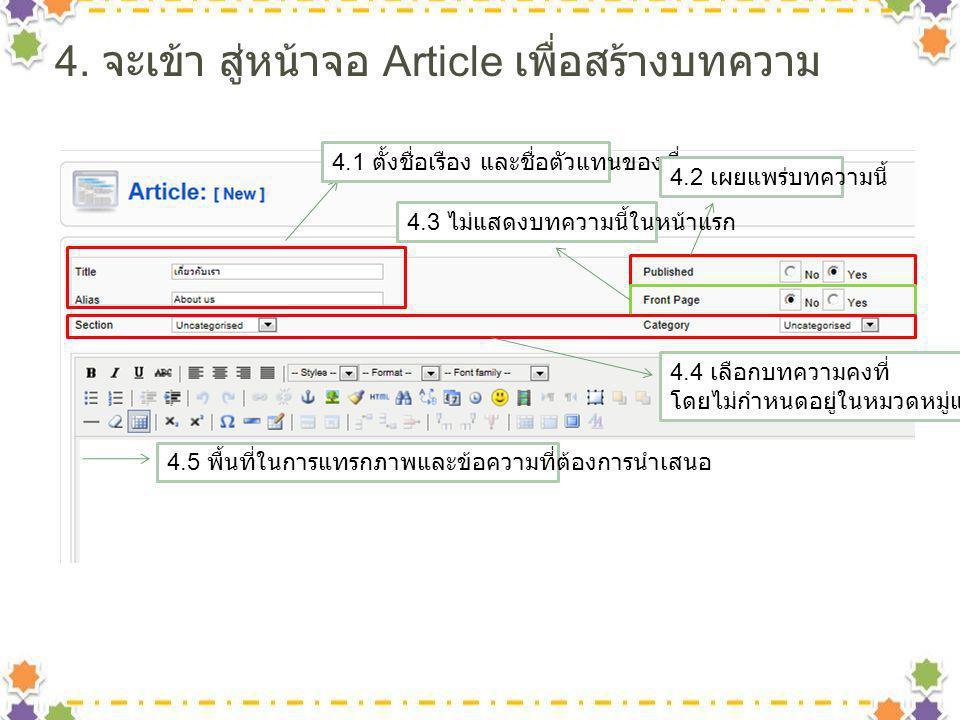 4. จะเข้า สู่หน้าจอ Article เพื่อสร้างบทความ 4.1 ตั้งชื่อเรือง และชื่อตัวแทนของเรื่อง 4.2 เผยแพร่บทความนี้ 4.3 ไม่แสดงบทความนี้ในหน้าแรก 4.4 เลือกบทคว