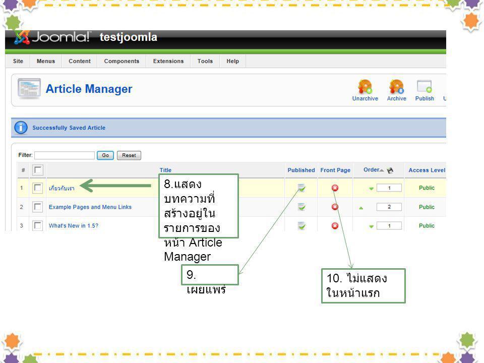 8. แสดง บทความที่ สร้างอยู่ใน รายการของ หน้า Article Manager 9. เผยแพร่ 10. ไม่แสดง ในหน้าแรก