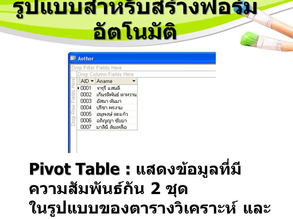 รูปแบบสำหรับสร้างฟอร์ม อัตโนมัติ Pivot Table : Pivot Table : แสดงข้อมูลที่มี ความสัมพันธ์กัน 2 ชุด ในรูปแบบของตารางวิเคราะห์ และ แจกแจงรายละเอียดต่าง ๆ