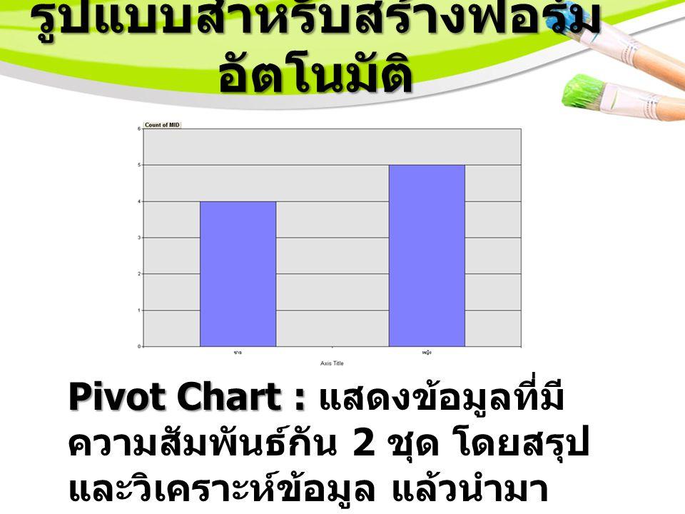 รูปแบบสำหรับสร้างฟอร์ม อัตโนมัติ Pivot Chart : Pivot Chart : แสดงข้อมูลที่มี ความสัมพันธ์กัน 2 ชุด โดยสรุป และวิเคราะห์ข้อมูล แล้วนำมา แสดงในรูปแบบของแผนภูมิ