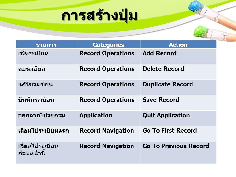 การสร้างปุ่ม รายการ CategoriesAction เพิ่มระเบียน Record OperationsAdd Record ลบระเบียน Record OperationsDelete Record แก้ไขระเบียน Record OperationsDuplicate Record บันทึกระเบียน Record OperationsSave Record ออกจากโปรแกรม ApplicationQuit Application เลื่อนไประเบียนแรก Record NavigationGo To First Record เลื่อนไประเบียน ก่อนหน้านี้ Record NavigationGo To Previous Record