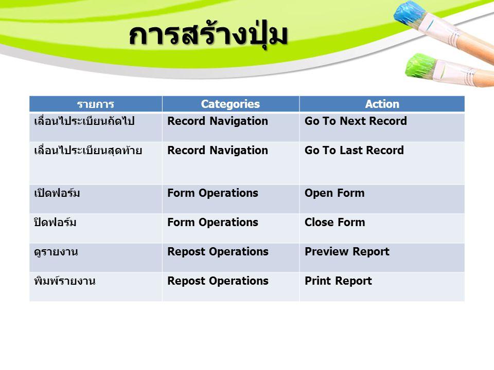 การสร้างปุ่ม รายการ CategoriesAction เลื่อนไประเบียนถัดไป Record NavigationGo To Next Record เลื่อนไประเบียนสุดท้าย Record NavigationGo To Last Record เปิดฟอร์ม Form OperationsOpen Form ปิดฟอร์ม Form OperationsClose Form ดูรายงาน Repost OperationsPreview Report พิมพ์รายงาน Repost OperationsPrint Report