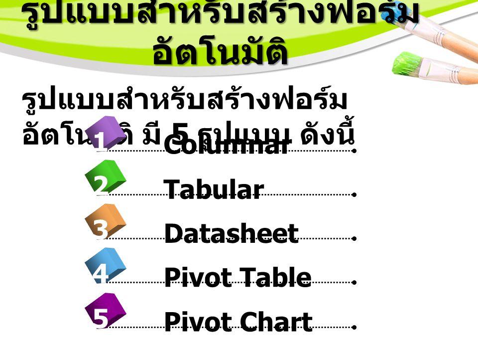 รูปแบบสำหรับสร้างฟอร์ม อัตโนมัติ รูปแบบสำหรับสร้างฟอร์ม อัตโนมัติ มี 5 รูปแบบ ดังนี้ 4 Columnar 1 2 3 5 Tabular Datasheet Pivot Table Pivot Chart