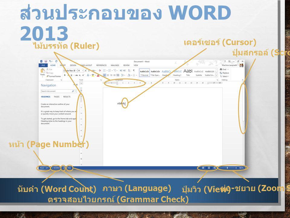 ส่วนประกอบของ WORD 2013 ไม้บรรทัด (Ruler) เคอร์เซอร์ (Cursor) ปุ่มสกรอล์ (Scroll) ย่อ - ชยาย (Zoom Slider) ปุ่มวิว (View) ภาษา (Language) ตรวจสอบไวยกรณ์ (Grammar Check) นับคำ (Word Count) หน้า (Page Number)