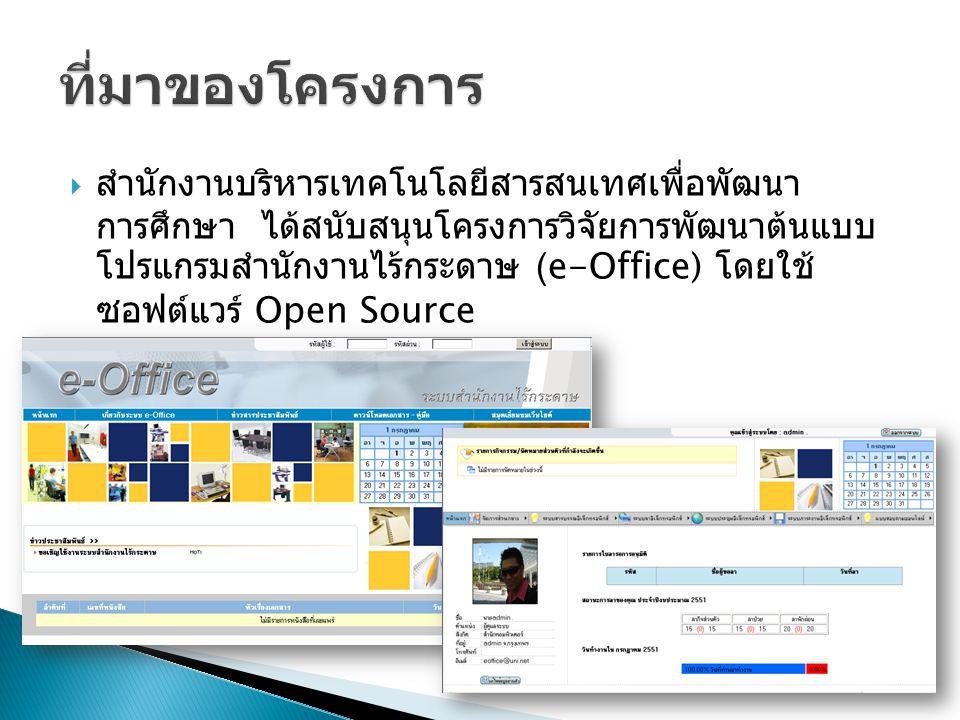  สำนักงานบริหารเทคโนโลยีสารสนเทศเพื่อพัฒนา การศึกษา ได้สนับสนุนโครงการวิจัยการพัฒนาต้นแบบ โปรแกรมสำนักงานไร้กระดาษ (e-Office) โดยใช้ ซอฟต์แวร์ Open Source