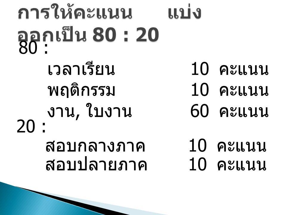80 : เวลาเรียน 10 คะแนน พฤติกรรม 10 คะแนน งาน, ใบงาน 60 คะแนน 20 : สอบกลางภาค 10 คะแนน สอบปลายภาค 10 คะแนน