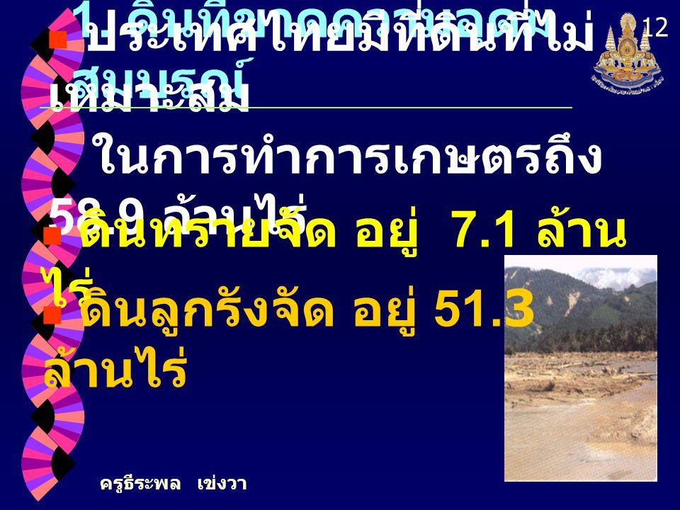 ครูธีระพล เข่งวา 12 1. ดินที่ขาดความอุดม สมบูรณ์ ประเทศไทยมีที่ดินที่ไม่ เหมาะสม ในการทำการเกษตรถึง 58.9 ล้านไร่ ดินทรายจัด อยู่ 7.1 ล้าน ไร่ ดินลูกรั