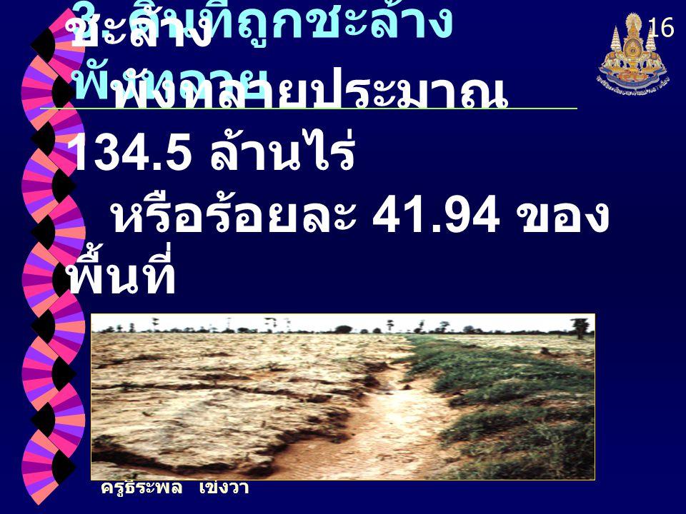 ครูธีระพล เข่งวา 16 3. ดินที่ถูกชะล้าง พังทลาย ประเทศไทยมีที่ดินที่ถูก ชะล้าง พังทลายประมาณ 134.5 ล้านไร่ หรือร้อยละ 41.94 ของ พื้นที่