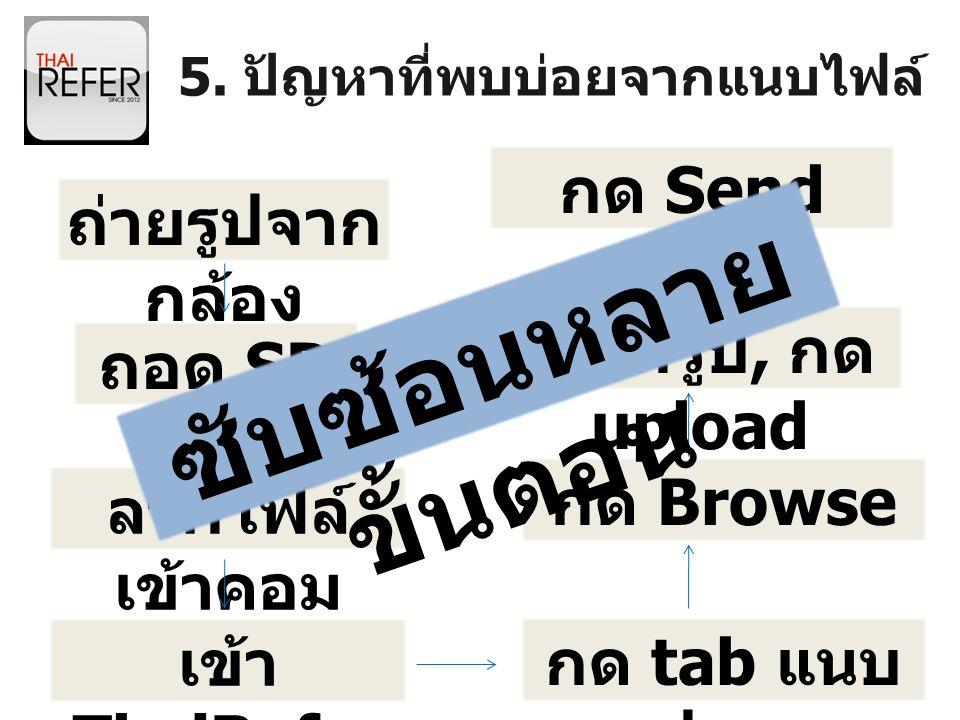 5. ปัญหาที่พบบ่อยจากแนบไฟล์ ถ่ายรูปจาก กล้อง ถอด SD card ลากไฟล์ เข้าคอม เข้า ThaiRefer กด tab แนบ รูปภาพ กด Browse เลือกรูป, กด upload กด Send ซับซ้อ