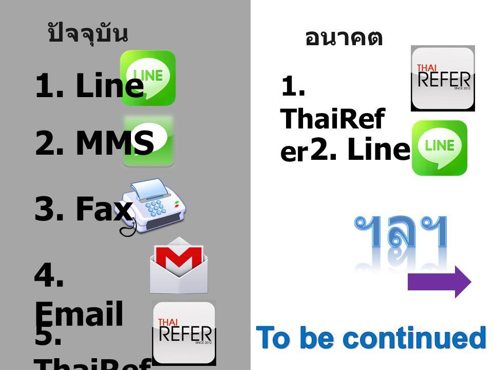 ปัจจุบัน 1. Line 2. MMS 3. Fax 4. Email 5. ThaiRef er อนาคต 1. ThaiRef er 2. Line