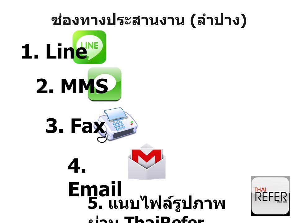 ช่องทางประสานงาน ( ลำปาง ) 1. Line 2. MMS 3. Fax 4. Email 5. แนบไฟล์รูปภาพ ผ่าน ThaiRefer