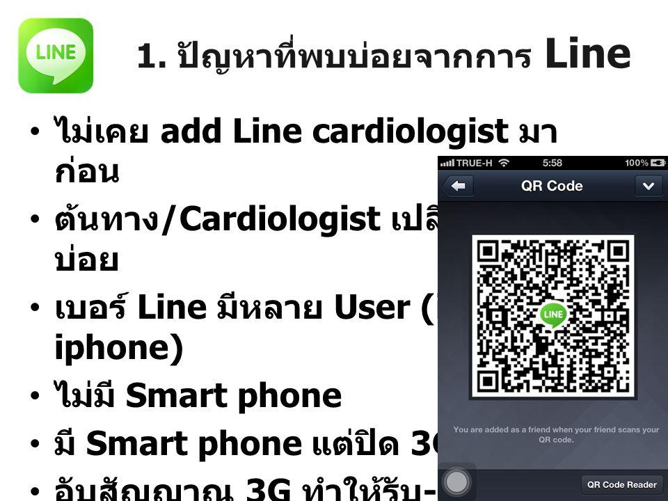 1. ปัญหาที่พบบ่อยจากการ Line ไม่เคย add Line cardiologist มา ก่อน ต้นทาง /Cardiologist เปลี่ยนเบอร์ บ่อย เบอร์ Line มีหลาย User (iPad, iphone) ไม่มี S