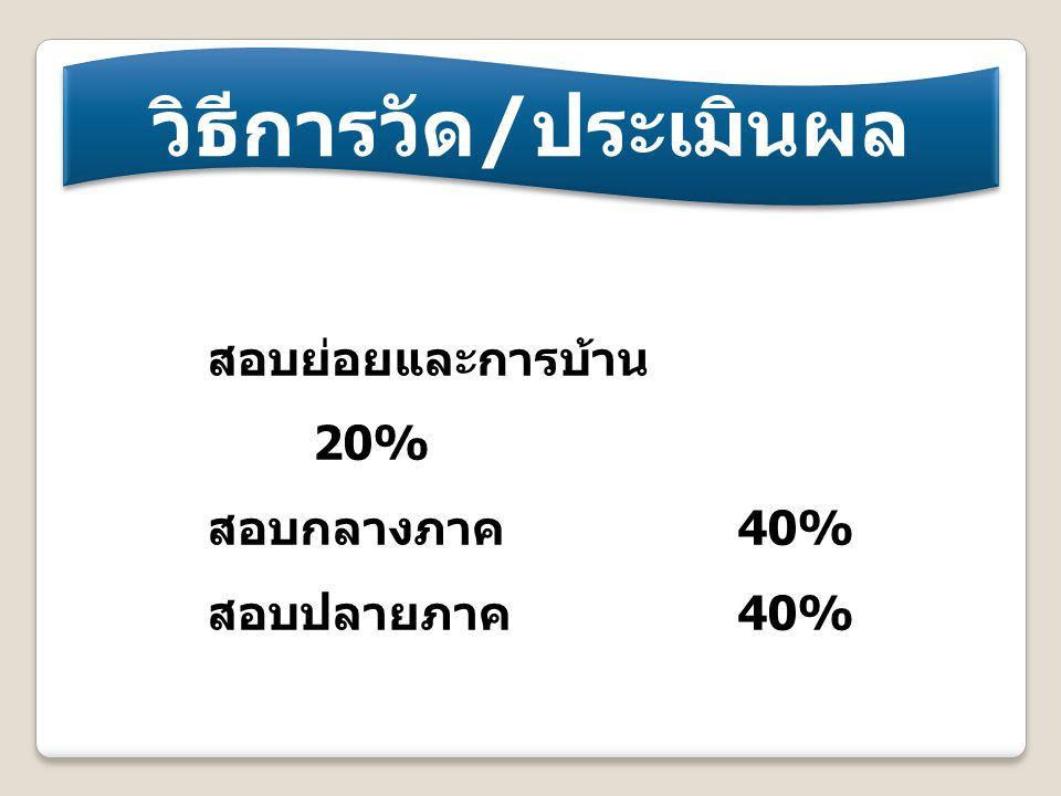วิธีการวัด / ประเมินผล สอบย่อยและการบ้าน 20% สอบกลางภาค 40% สอบปลายภาค 40%