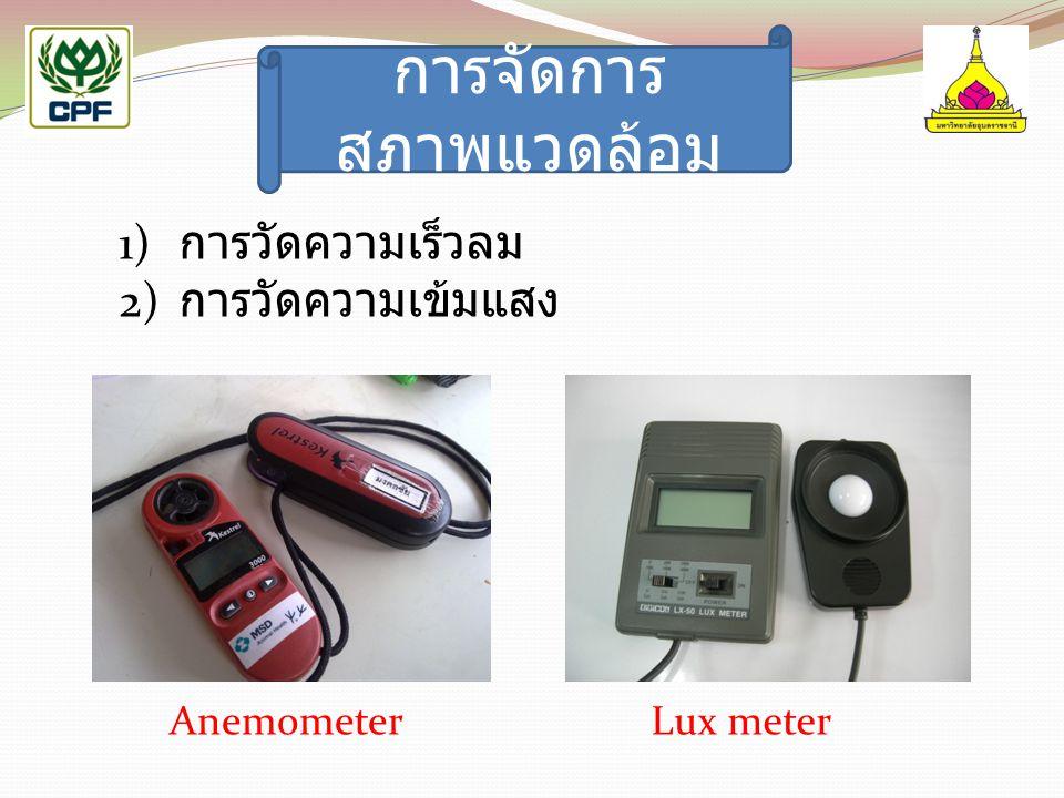 การจัดการ สภาพแวดล้อม AnemometerLux meter 1) การวัดความเร็วลม 2) การวัดความเข้มแสง