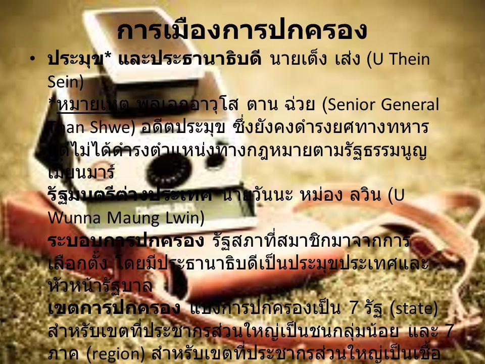 การเมืองการปกครอง ประมุข * และประธานาธิบดี นายเต็ง เส่ง (U Thein Sein) * หมายเหตุ พลเอกอาวุโส ตาน ฉ่วย (Senior General Than Shwe) อดีตประมุข ซึ่งยังคง
