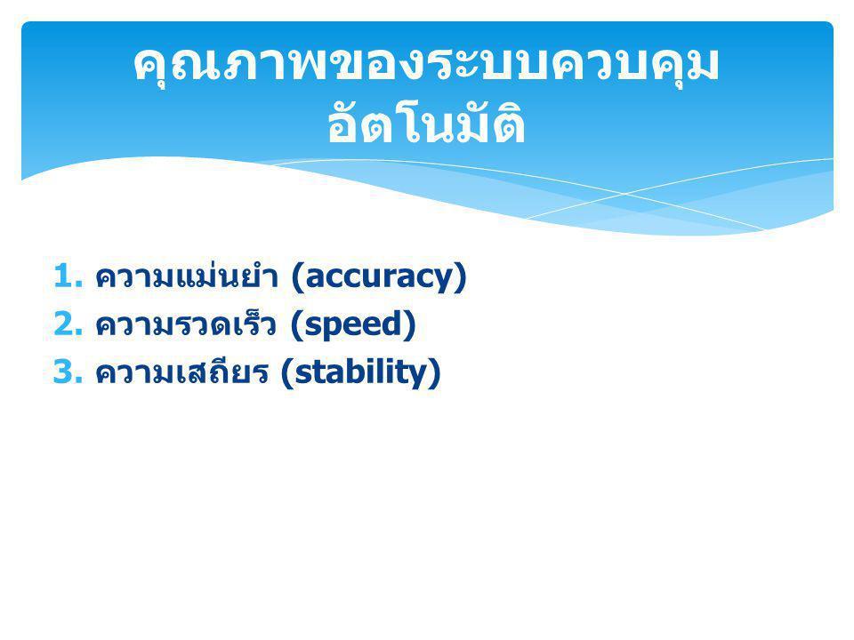 1. ความแม่นยำ (accuracy) 2. ความรวดเร็ว (speed) 3. ความเสถียร (stability) คุณภาพของระบบควบคุม อัตโนมัติ