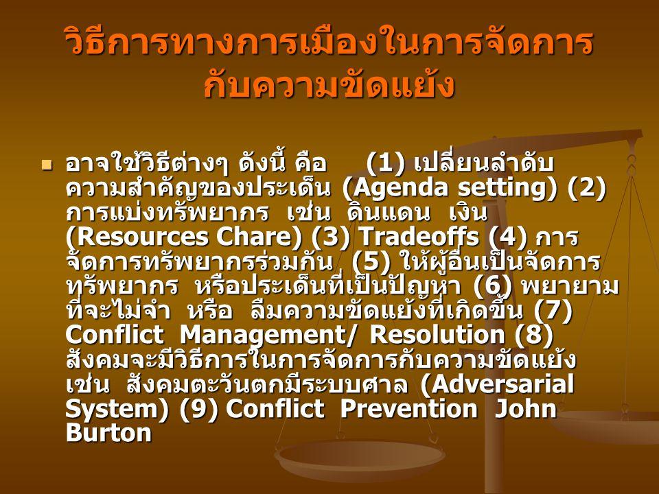 วิธีการทางการเมืองในการจัดการ กับความขัดแย้ง อาจใช้วิธีต่างๆ ดังนี้ คือ (1) เปลี่ยนลำดับ ความสำคัญของประเด็น (Agenda setting) (2) การแบ่งทรัพยากร เช่น ดินแดน เงิน (Resources Chare) (3) Tradeoffs (4) การ จัดการทรัพยากรร่วมกัน (5) ให้ผู้อื่นเป็นจัดการ ทรัพยากร หรือประเด็นที่เป็นปัญหา (6) พยายาม ที่จะไม่จำ หรือ ลืมความขัดแย้งที่เกิดขึ้น (7) Conflict Management/ Resolution (8) สังคมจะมีวิธีการในการจัดการกับความขัดแย้ง เช่น สังคมตะวันตกมีระบบศาล (Adversarial System) (9) Conflict Prevention John Burton อาจใช้วิธีต่างๆ ดังนี้ คือ (1) เปลี่ยนลำดับ ความสำคัญของประเด็น (Agenda setting) (2) การแบ่งทรัพยากร เช่น ดินแดน เงิน (Resources Chare) (3) Tradeoffs (4) การ จัดการทรัพยากรร่วมกัน (5) ให้ผู้อื่นเป็นจัดการ ทรัพยากร หรือประเด็นที่เป็นปัญหา (6) พยายาม ที่จะไม่จำ หรือ ลืมความขัดแย้งที่เกิดขึ้น (7) Conflict Management/ Resolution (8) สังคมจะมีวิธีการในการจัดการกับความขัดแย้ง เช่น สังคมตะวันตกมีระบบศาล (Adversarial System) (9) Conflict Prevention John Burton