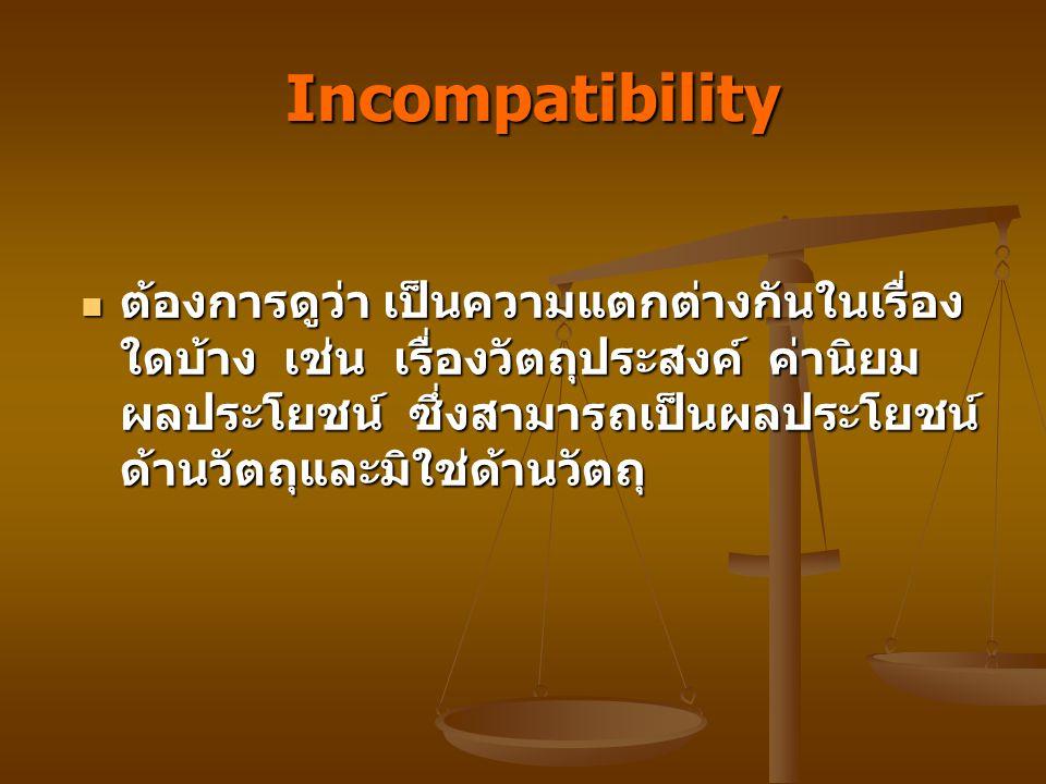 Incompatibility Incompatibility ต้องการดูว่า เป็นความแตกต่างกันในเรื่อง ใดบ้าง เช่น เรื่องวัตถุประสงค์ ค่านิยม ผลประโยชน์ ซึ่งสามารถเป็นผลประโยชน์ ด้านวัตถุและมิใช่ด้านวัตถุ ต้องการดูว่า เป็นความแตกต่างกันในเรื่อง ใดบ้าง เช่น เรื่องวัตถุประสงค์ ค่านิยม ผลประโยชน์ ซึ่งสามารถเป็นผลประโยชน์ ด้านวัตถุและมิใช่ด้านวัตถุ