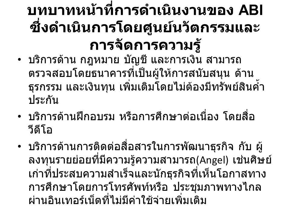 บทบาทหน้าที่การดำเนินงานของ ABI ซึ่งดำเนินการโดยศูนย์นวัตกรรมและ การจัดการความรู้ บริการข่าวสารข้อมูลสื่อใหม่ ในภาษาอังกฤษ ทั้งทาง เศรษฐกิจสังคม ภาษาวัฒนธรรม และสาระบันเทิงต่างๆ โดยเฉพาะ ประเทศไทย อาเซียน และจีน บริการติดต่อรับความช่วยเหลือหรือข้อมูล จาก หน่วยงานภาครัฐ องค์กรเอกชน มาตรฐาน การวิจัย ที่ สนับสนุนธุรกิจขนาดกลางขนาดย่อม หรือแม้กระทั่ง ติดต่อทำธุรกิจร่วมกันระหว่างบัณฑิต เป็นเครือข่าย การค้า พาณิชย์อิเล็กทรอนิกส์ กลุ่มแข่งขัน (Cluster) หรือ ห่วงโซ่อุปทาน (Supply Chain)
