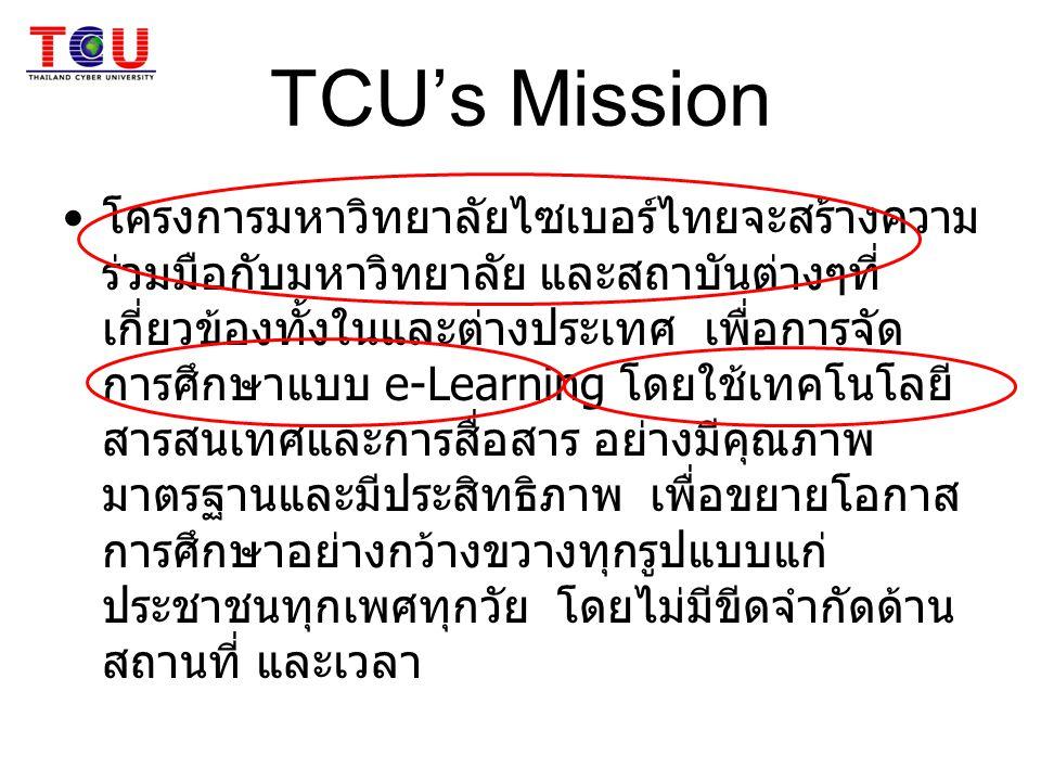 TCU's Mission โครงการมหาวิทยาลัยไซเบอร์ไทยจะสร้างความ ร่วมมือกับมหาวิทยาลัย และสถาบันต่างๆที่ เกี่ยวข้องทั้งในและต่างประเทศ เพื่อการจัด การศึกษาแบบ e-