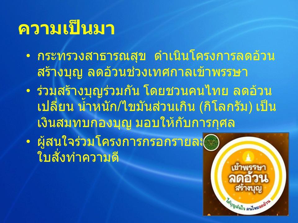ความเป็นมา กระทรวงสาธารณสุข ดำเนินโครงการลดอ้วน สร้างบุญ ลดอ้วนช่วงเทศกาลเข้าพรรษา ร่วมสร้างบุญร่วมกัน โดยชวนคนไทย ลดอ้วน เปลี่ยน น้ำหนัก / ไขมันส่วนเกิน ( กิโลกรัม ) เป็น เงินสมทบกองบุญ มอบให้กับการกุศล ผู้สนใจร่วมโครงการกรอกรายละเอียดบุคคล ใบสั่งทำความดี
