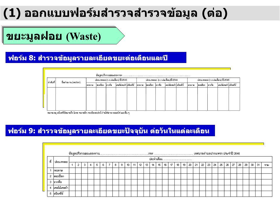 ขยะมูลฝอย (Waste) (1) ออกแบบฟอร์มสำรวจสำรวจข้อมูล (ต่อ) ฟอร์ม 8: สำรวจข้อมูลรายละเอียดขยะต่อเดือนและปี ฟอร์ม 9: สำรวจข้อมูลรายละเอียดขยะปัจจุบัน ต่อวั