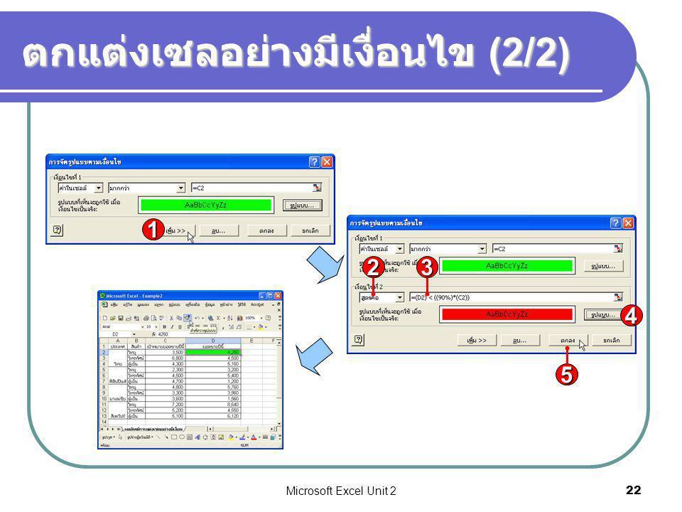 Microsoft Excel Unit 222 ตกแต่งเซลอย่างมีเงื่อนไข (2/2) 5 4 23 1