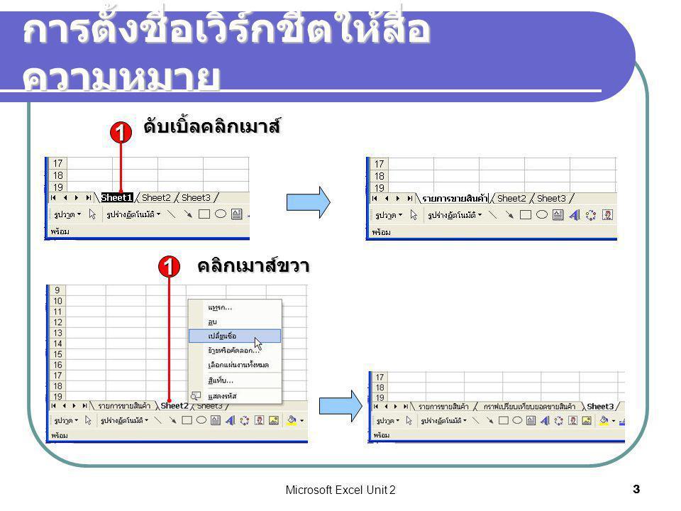 Microsoft Excel Unit 224 จัดรูปแบบข้อมูลตัวเลข (1/2) หมวดรูปแบบลักษณะการแสดงผล ทั่วไป (General) รูปแบบจะขึ้นกับข้อมูลในเซล ถ้าเป็นตัวเลขชิด ขวา อักษรชิดซ้าย ตัวเลข (Number) รูปแบบสำหรับตัวเลขทั่ว ๆ ไป สกุลเงิน (Currency) รูปแบบสำหรับจำนวนเงิน สัญลักษณ์หน่วยเงิน และตัวเลขติดลบ บัญชี (Accounting) คล้าย Currency แต่สัญลักษณ์หน่วยเงินจะอยู่ ชิดซ้าย และตัวเลขชิดขวาเสมอ วันที่ (Date) แสดงวันที่ ทั้งแบบไทย และต่างประเทศ เวลา (Time) แสดงเวลา เปอร์เซ็นต์ (Percentage) ตัวเลขจะถูกคูณด้วย 100 เสมอ พร้อมแสดง เครื่องหมาย % เช่น 0.15 คือ 15%